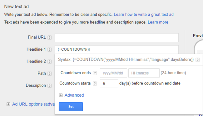 adwords countdown ads