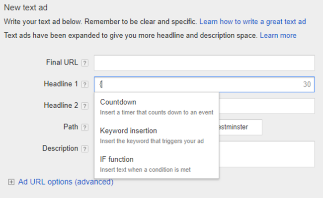 adwords countdown ads interface